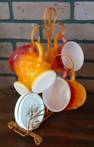 LOT OF 4 Anchor Hocking  Orange/Red Kimberly Mugs With Mug Tree And Coasters