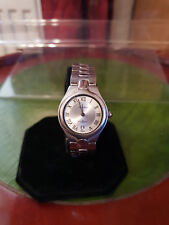 ladies amadeus chrome bracelet watch,date window,& silver & ivory color dial.b1.