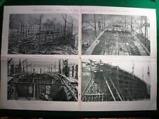 Stampa Enorme Nel 1920 Castellamare di Stabia varo Caracciolo, Del Bono