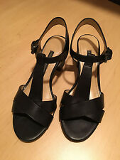 French Connection black leather sandals size 36/6 M T-strap silver heel