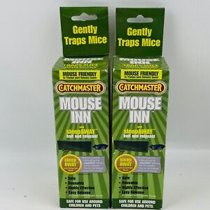 CatchMaster Mouse Inn 2 Trap Lot Valerian Root Bait Relaxant Pet Kid Safe Humane