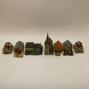 N Scale Train Buildings Lot of 7 VINTAGE Houses with Faller Church & 2 B-23