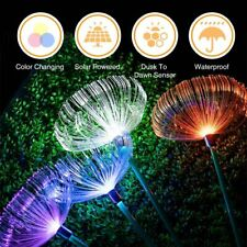 Solar Fiber Optic Jellyfish LED Lights Ground Lamp Garden Outdoor Waterpro Xmas