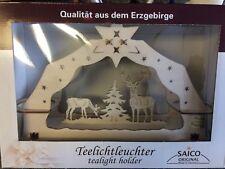 Erzbirge Handcrafted Tea Light Holder Arch Deer Scene Germany