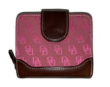 Dooney Bourke Pink Canvas Leather Small Wallet bifold Zipper Coin DB Signature