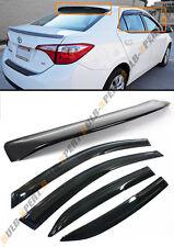 FOR 2014-2017 Toyota Corolla Mugen 3D Wavy Window Visor + Rear Roof Visor Combo