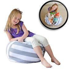 Creative QT Stuff 'n Sit - Stuffed Animal Storage Bean Bag - Grey/White Stripe