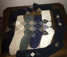 Vintage 1980s Lot Of Mens Argyle Socks For Craft Projects 6 Pair + Two Mismates