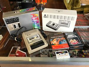 ATARI 400 800 PROGRAM CASSETTE RECORDER 410 W/ BOX & GAMES - CLEAN & TESTED -