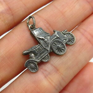 1//2 inch Tall Sterling Silver 1930s Vintage Automobile Charm