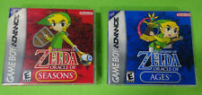 Empty Cases!  Legend of Zelda Oracle of Seasons Ages GBA Gameboy Advance Color