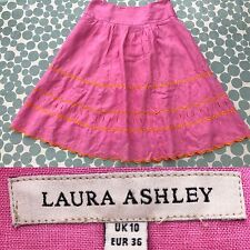 Laura Ashley Pink Skirt Size 10 Embroidered Floral Lace Cotton Knee Summer A8