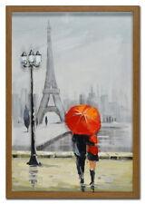 EIFFEL TOWER HAND PAINTED PARIS PAINTING 43cm x 63cm ON GLASS ART DECOR w frame