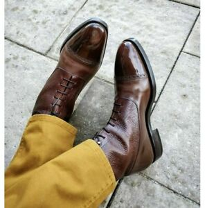 Handmade Men's Brogue Cap Toe Leather Dress Boots, Lace up Ankle Boots