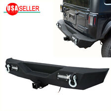 Rock Crawler Rear Bumper w/2 LED Lights & D-ring for 07-18 Jeep Wrangler JK