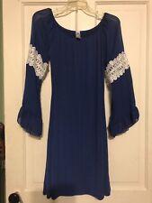 Women's Bright Blue Sheer Bell Sleeve Dress Size Large