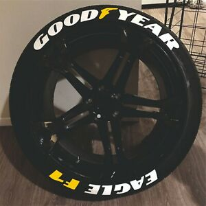 "Tire Lettering GOOD YEAR EAGLE F1 YELLOW permanent Stickers 14""-24"" DECAL 1.25"""