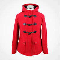 Womens Ladies Red DUFFLE Coat Winter Warm Wool Zip Jacket Hooded Toggles UK 6