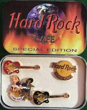 Hard Rock Cafe HONG KONG 1999 4 Mini PINS Set in TIN Guitars Drum Logo HRC #3037