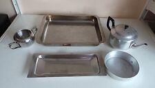LOTTO di 5 da cucina in acciaio inossidabile che servono gli articoli Teiera Vassoio per Arrosto Padella Pentola & dish