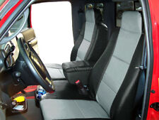 FORD RANGER 2010-2011 BLACK/GREY LEATHER-LIKE 2 FRONT SEAT & CONSOLE COVERS