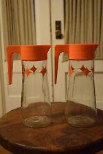2 Mid-Century Vintage Juice Tang Pitcher Servers Atomic Orange Anchor Hocking