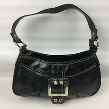 Next Handbag 388-491 Black with large buckle, Hand Clutch Bag, Lovely Condition