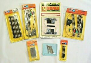 Vintage NOS Bachmann & Atlas N scale turnouts bumper crossing rail joiners track