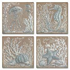 """NEW Set of 4 Wall Art Stretched Canvas 12""""x12"""" Burlap Ocean Blue Sea Fish"""
