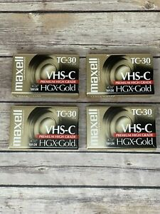 4 NEW SEALED Maxell VHS-C TC-30 HGX-Gold Camcorder Blank Video Cassette Tapes