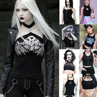Gothic Punk Women Sexy Streetwear Club Slim Crop Short Tops Blouse Tank Top Vest