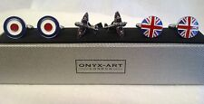 TRIPLE CUFFLINK SET - RAF ROUNDEL, SPITFIRE FIGHTER PLANE & UNION JACK - CKS029