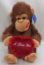"10"" Valentine Monkey with Heart Brown  Plush Stuffed Animal Royal Plush New"