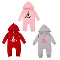 NEW BABY JORDAN HOODED ROMPER BABYGROWS NEWBORN BOYS GIRLS OUTFIT BABY BODYSUIT