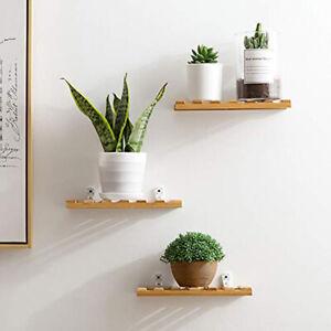 Bamboo Floating Shelves Hanging Organizer Bookcase Storage Kitchen Wall Shelf