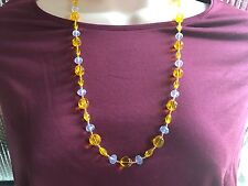 Glass Rounds and Clear Crystal Beads Handmade Necklace of Yellow Tone Czech