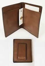 NEW FOSSIL LENHART MEDIUM BROWN LEATHER BIFOLD FPW MEN'S WALLET,MONEY CLIP