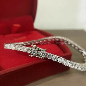 6 CT Round Cut Certified Diamond Tennis Bracelet Solid 14K White Gold For Men's