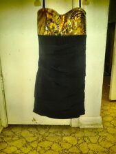 New tight short yellow and black zebra homecoming/cocktail/party Bcx dress size: