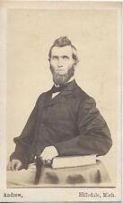 Cdv Portrait Of Young Man W/ Long Beard, Tall Hair, Stamp -Hillsdale, Michigan