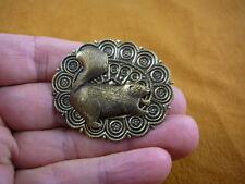 (b-squir-52) fat Squirrel little baby squirrels forest skunk brass pin pendant