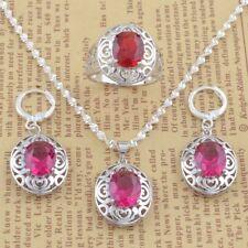 Necklace Pendant Rings Earrings Women's 925 Silver Filled Jewelry Set Gemstone