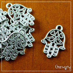 Small Filigree Hamsa charms ~PACK of 10~ antique Tibetan silver hand fatima