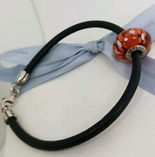 Authentic Pandora Black Leather Bracelet w Oversized Coral Murano Charm 590709