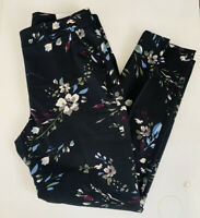 New White House Black Market Women's 8 Black Floral Slim Ankle Pants Cropped