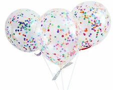 Confetti Balloon Kit - Rainbow Party Balloons with Sticks & Ribbon! FREE POSTAGE