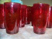 "12 Hand Blown Ruby Red Glass Tumblers Glasses Bubbles Pontil 5 3/4"" LKNU"