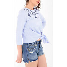 Womens Embroidered Blue Stripe Front Knot Tie Casual Holiday Blouse Summer Top Blue/white Striped Es17012 UK 8