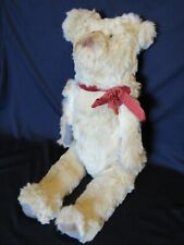 Antique Straw Stuffed Mohair Jointed Teddy Bear w/ Glass Eyes  ~ Much Loved