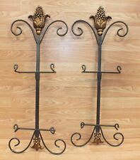 Metal Brass Style Brown & Gold Tone Grapes Design Plate Wall Hanging Stand Racks